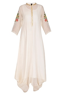 Ecru Embroidered Cowl Draped Kurta Dress With Slip by Ayinat By Taniya O'Connor