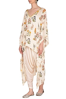 Blush Pink Printed & Embroidered Kaftan With Dhoti Pants by Ayinat By Taniya O'Connor