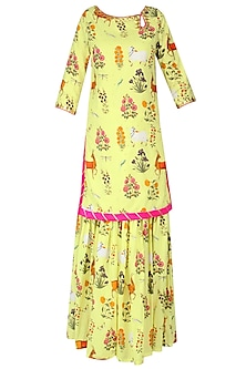 Apple Yellow Floral Printed Short Kurta and Sharara Pants Set
