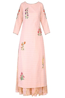 Blush Pink Mughal Botanic Embroidered Motifs Kurta and Sharara Pants Set