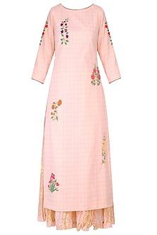 Blush Pink Mughal Botanic Embroidered Motifs Kurta and Sharara Pants Set by Ayinat By Taniya O'Connor