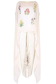 Ecru Mughal Botanic Embroidered Motifs Cape and Dhoti Pants Set by Ayinat By Taniya O'Connor