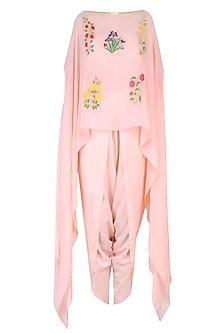 Blush Pink Mughal Botanic Embroidered Motifs Cape and Dhoti Pants Set by Ayinat By Taniya O'Connor