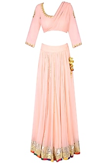 Blush Pink Gota Patti Work Draped Blouse and Lehenga Skirt Set