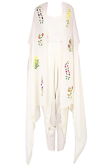 Ecru Mughal Botanical Embroidered Motifs Cape, Dhoti Pants and Camisole Set