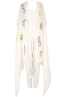 Ecru Mughal Botanical Embroidered Motifs Cape, Dhoti Pants and Camisole Set by Ayinat By Taniya O'Connor