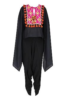 Black and Rani Pink Gota Patti Work Cape with Dhoti Pants by Ayinat By Taniya O'Connor