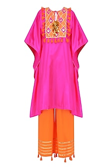 Rani Pink and Orange Gota Patti Work Cape and Wide Legged Pants Set