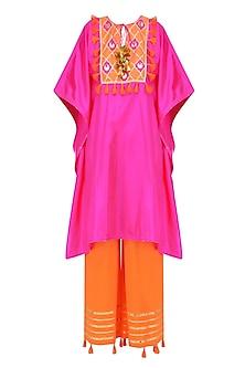 Rani Pink and Orange Gota Patti Work Cape and Wide Legged Pants Set by Ayinat By Taniya O'Connor