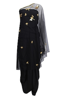 Black Dragonfly Motifs One Shoulder Cape and Dhoti Pants Set