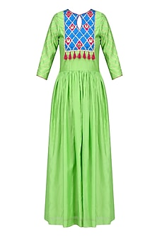 Lime Green and Blue Gota Patti Work Kurta
