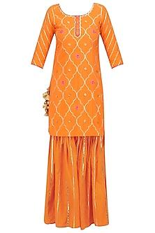 Orange Gota Patti and Lotus Motifs Short Kurta and Garara Set by Ayinat By Taniya O'Connor