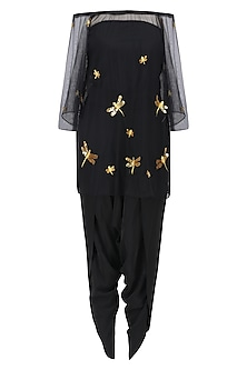 Black Dragonfly Motifs Off Shoulder Top and Dhoti Pants Set