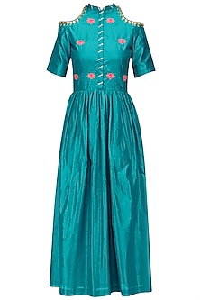 Turquoise Blue Gota Patti Work Cold Shoulder Maxi Dress