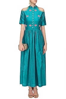 Turquoise Blue Gota Patti Work Cold Shoulder Maxi Dress by Ayinat By Taniya O'Connor