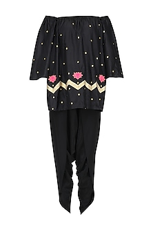 Black Lotus Motifs Boho Top and Dhoti Pants Set