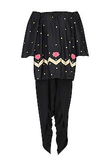 Black Lotus Motifs Boho Top and Dhoti Pants Set by Ayinat By Taniya O'Connor