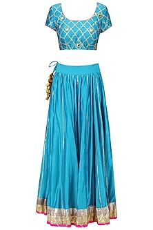 Teal Blue Gota Patti Jaal and Chaand Motifs Lehenga Set