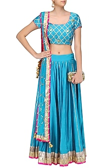 Teal Blue Gota Patti Jaal and Chaand Motifs Lehenga Set by Ayinat By Taniya O'Connor