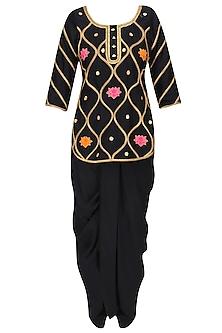 Black Gota Patti and Lotus Motifs Short Kurta and Dhoti Pants Set by Ayinat By Taniya O'Connor