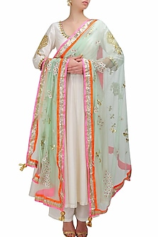 Mint green dragonfly and cherry blossom gota patti embroidered dupatta