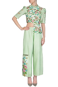 Light Green Hand Painted Ruffled Top With Pants by Baavli