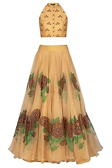 Sand Colored Embroidered Hand Painted Lehenga Skirt With Crop Top