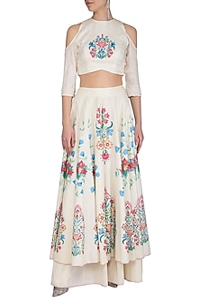 Off White Embroidered Hand Painted Sharara Pants With Crop Top by Baavli