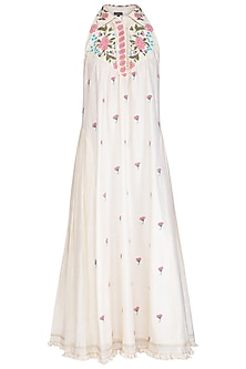 Off White Embroidered Hand Painted Pleated Dress