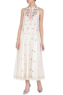 Off White Embroidered Hand Painted Pleated Dress by Baavli