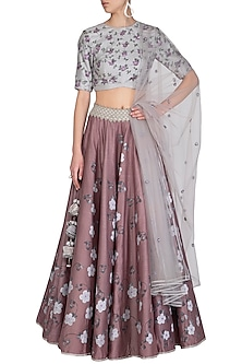Mauve Embroidered Hand Painted Lehenga Set by Baavli