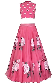 Pink Embroidered Hand Painted Lehenga Skirt With Crop Top