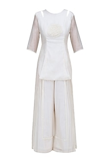 Off White Floral Hand Embroidered Tunic and Palazzo Pants Set
