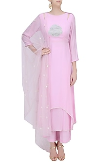 Lavender Floral Hand Embroidered Kurta and Palazzo Pants Set by Baavli