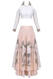 White Pearl Embroidered Crop Top with Peach Floral Handpainted Sharara Pants