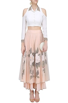 White Pearl Embroidered Crop Top with Peach Floral Handpainted Sharara Pants by Baavli