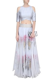 Dust Blue Cold Shoulder Crop Top with Floral Handpainted Skirt by Baavli
