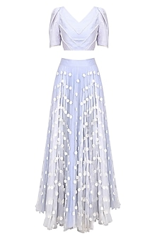 Dust Blue Pearl Embroidered Crop Top with Flower Work Skirt by Baavli