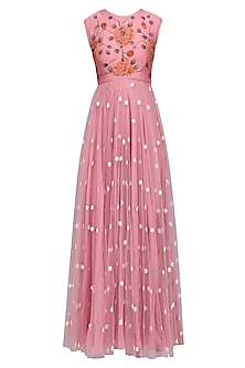 Dust Pink Floral Embroidered Flared Anarkali Set by Baavli