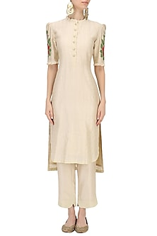 Beige Embroidered Kurta and Pants Set by Baavli