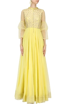 Yellow Embroidered Flared Anarkali Kurta by Baavli