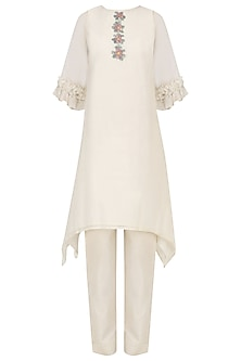 Off White Foral Tunic and Thread Work Pants Set