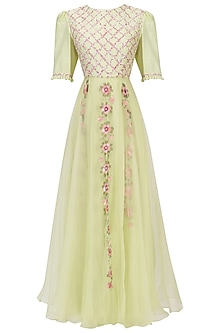 Pastel Green Floral Handpainted Jumpsuit by Baavli