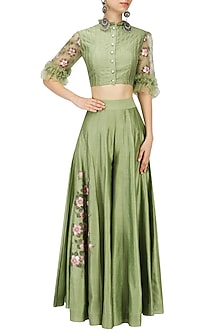 Green Embroidered Crop Top and Sharara Pants Set by Baavli