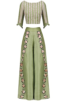 Green Hand Embroidered Crop Top and Pants Set