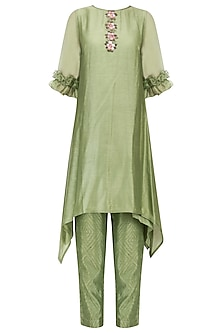 Green Floral Handpainted Tunic and Pants Set by Baavli