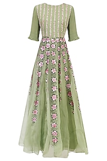 Green Floral Handpainted Jumpsuit by Baavli