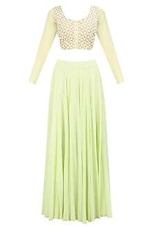 Mint Green Zari and Pearl Embroidered Blouse and Skirt Set