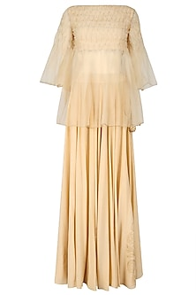 Nude Organza Top and Foil Work Skirt Set by Baavli
