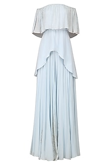 Powder Blue Off Shoulder Top and Flared Skirt Set by Baavli